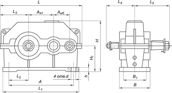 Габаритные и присоединительные размеры: редуктора ц2у